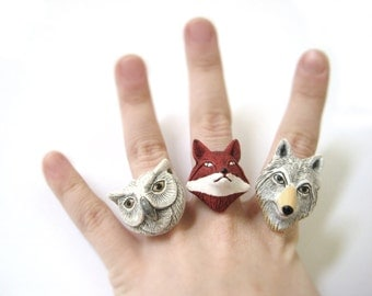 Cute Animal Rings - Cute Animal Jewelry - Silver Animal Ring - Animal Lover Gift - Animal Lover Jewelry - Polymer Clay Ring Statment Ring