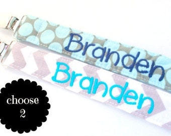 Personalized Chevron Pacifier Clip Set- YOU CHOOSE 2 Pacifiers- Snap or Universal Pacifier Clip Set, Aqua and gray, toy leash soothie, binky