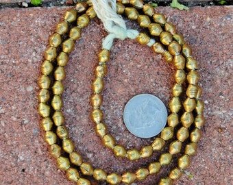 African Brass Bicone Beads: (6x6mm)