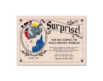 "Surprise you're going to Disney Vintage ticket invitation! Digital File Only 5"" by 7"""