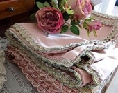 two antique French pink and green table runners with trims, shabby chic