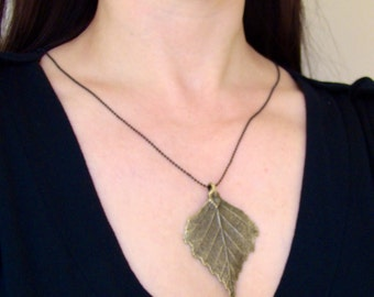 Sale Vintage Bronze Birch Leaf Pendant Necklace. Different length
