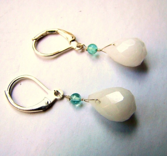 Sale White Jade Blue Aquamarine Earrings.  Sterling silver jewelry