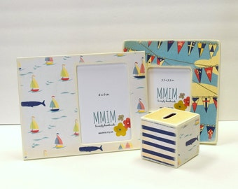 Nautical Flag Picture Frame,  Photo Frame, Sail Boats, Sailcloth, Colorful Picture frames, Unique wood frames, Modern baby, Father's Day