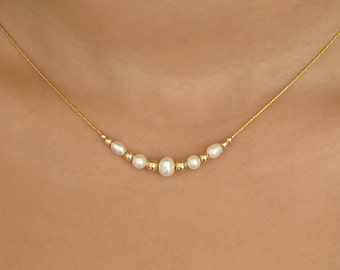 gold necklace, pearl necklace, tiny pearl necklace, gold pearl necklace, thin necklace, tiny necklace, minimalist necklace, layered necklace