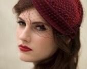 Veiled Retro Style Hat, Vintage Style Tea Party Hat, Felt Cocktail Headpiece, Womens - Faith