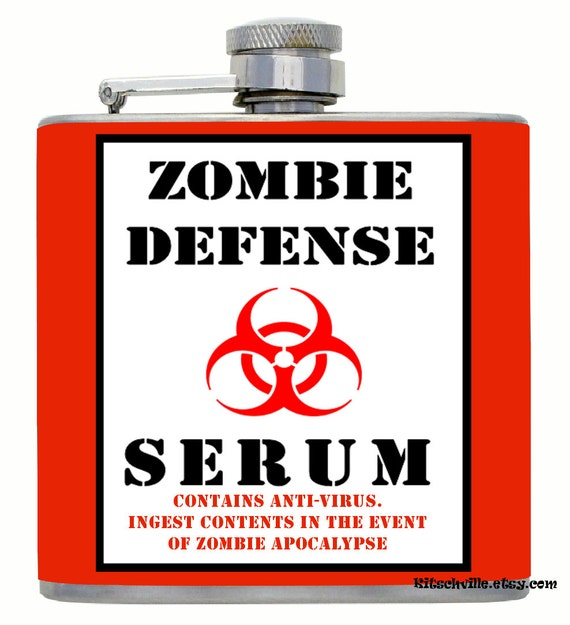 Zombie Apocalypse Defense Serum Funny Decorated Flask for Horror Fans