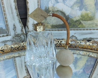Vintage Cut Glass Perfume Bottle w/Atomizer, Lovely Glass Perfume Bottle, Fragrance Bottle, Vanity Item, Boudoir