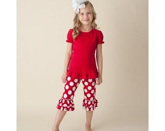 Red Ruffle Shirt and Ruffle Capri Set - FREE Personalization