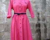 ON SALE Vintage / Hot Pink and Purple / Day Dress / MEDIUM