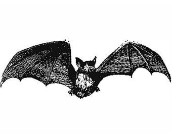 Paper Parachute Cling Rubber Stamp BAT Halloween