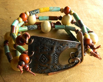 Tribal Southwestern Jewelry Bracelet Textured Copper Bone Wampum Multi-Strand Ethnic Seed Bead