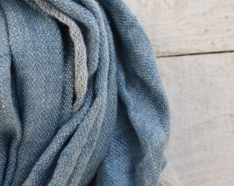 Men blue linen scarf pure linen scarf for women spring summer shawl
