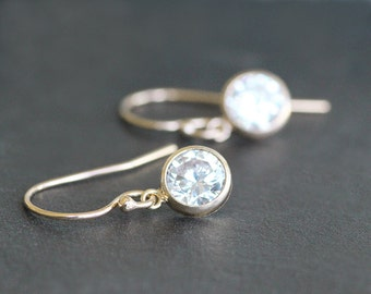 Earrings - Gold with 6mm CZ Diamond Drops - Gold-Filled Ear Wires - Bridal Jewelry