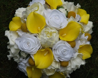 Charming bridal bouquet with real touch mini calla lilies, real touch open and bud peonies, hydrangea and billy buttons