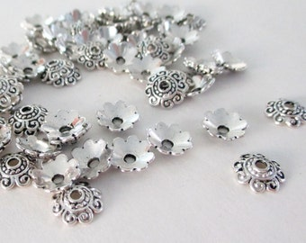 Silver Bead Bell Caps - Antique Silver Daisy Bead Cap - Filigree Spacer 19g.  (100) PCS - 8mm - Diy Craft Supply - Jewelry Metal Findings