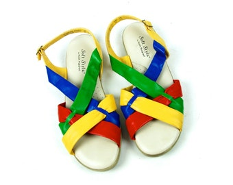 Soft Style Open Toe Slingbacks by Hush Puppies, Size 8 N // Open Toe Sandals // Slingback Sandals // Red, Yellow, Blue, Green Sandals