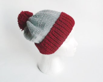 Pom Pom Hat,Hand knitted  Red and grey   Striped Pom Pom Hat Ski hat