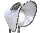 Baby Girl Bonnet WILLOW, White and Black Summer Hat by Bobka Baby