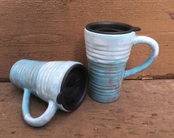 Earth Tone Ceramic Travel Mug with Lid - Twist Closure - Flowing Robin's Egg Blue