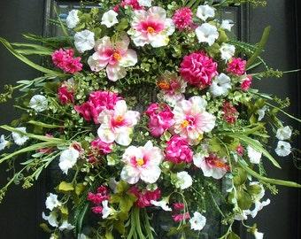 Valentine Door Wreath, Valentine Wreath, Wreath For Door, Valentines Day Wreath, Pink and White Wreath, Wild White and Pink Wreath,