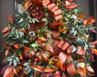 Fall Wreath, Designer Wreaths, Cornucopia Wreath, Thanksgiving Wreath, XXL Wreaths, Autumn Door Wreath