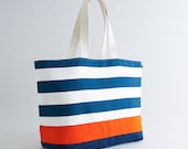 EXTRA Large Beach Bag // Tote in Navy Horizontal Stripes with Orange Stripe, Monogram Available