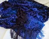Wonderful deep blue and purple cut silk scarf or shawl with fringe