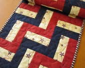Patriotic Table Runner, Handmade Tablerunner, Quilted Table Runner, Stars Runner, Independence Day, 4th of July, Home Decor, Patchwork