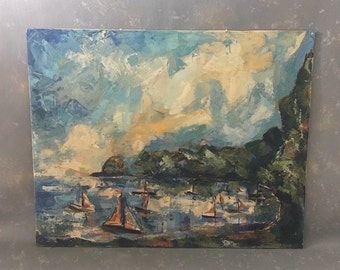 Vintage Nautical Painting, acrylic, sea, sailboats, mountains, signed, S J Hermanson