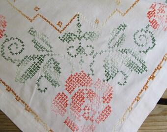 Vintage White Cotton Tablecloth, Cross stitch, Floral, Coral, Rose