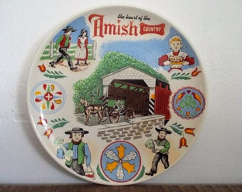 Colorful Vintage Amish Country Souvenir Decorative Plate