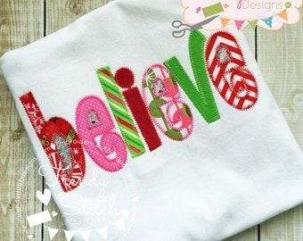 Believe applique design machine embroidery design INSTANT DOWNLOAD word art
