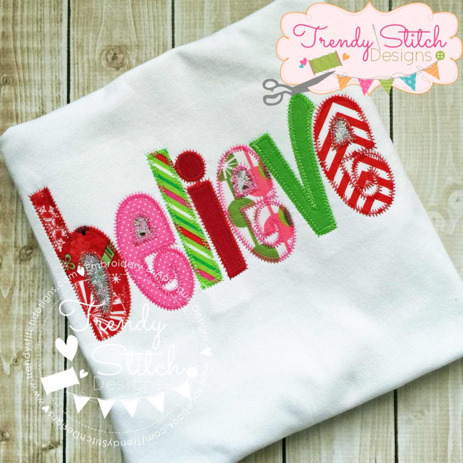 Believe applique design machine embroidery instant
