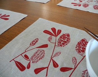 Linen Placemats Screen Printed Linen Place Mats Hand Printed Linen Table Mats Red&Natural Banksia(set of 4)