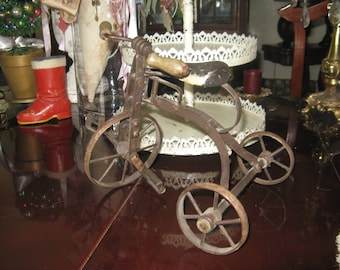 Vintage Doll Toy Tricycle Metal Frame and Wheels Collectable Home Decor