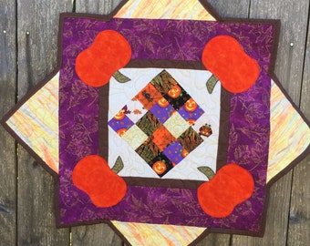Table Runner - Fall Colors, Pumpkins Quilted and Appliqued
