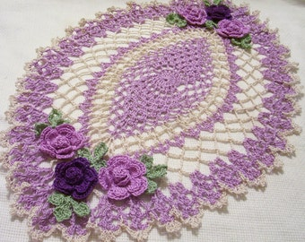 crocheted oval doily violet/purple/lavender and ecru  handmade home decor gifts Mother's day wedding