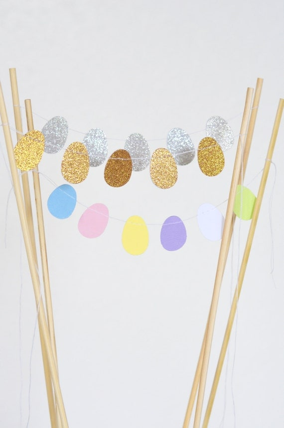 Easter Egg Mini Cake Bunting in spring pastels, and glitter gold or silver - custom colors available