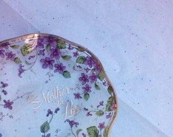 Vintage Collectible Lefton Purple Violets Catch all Trinket Dish - Beautiful