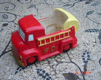 Vintage Inarco Fire Truck Planter - Made in Japan