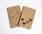 Hand-painted and Hand-Printed Notebook, Set of 2, Tulips, Bird, Scandinavian, Illustration, Lined Notebook, Pocket Journal, Idea Notebook