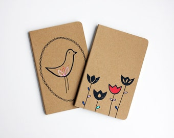 Hand-painted and Hand-Printed Notebook, Set of 2, Tulips, Bird, Scandinavian, Illustration, Lined Notebook, Pocket Journal, Idea Notebook