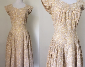 Vintage 1950s mustard cotton paisley dress / fifties fit and flare sundress - small to medium