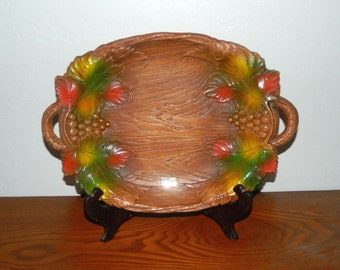 Large Molded Hard Plastic Serving Tray - Multi-Products, Inc - 1958 - Grape Leaf
