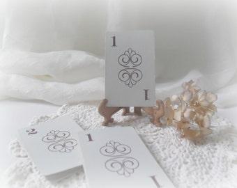 Table Numbers Vintage Wedding Cards Flinch Game Numbers 1-15 Rustic Wedding