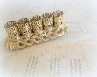Vintage Gold Tone Lipstick Holder Filigree Lipstick Holder Boudoir Dresser Hollywood Regency Caddy