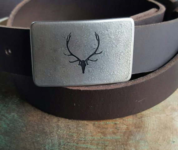 """Elk Belt & Buckle Outdoor Gear Natural Stainless Steel Buckle Etched and Signed Custom Designed Buckle by Canadian Robert Aucoin 1.25"""" Belt"""