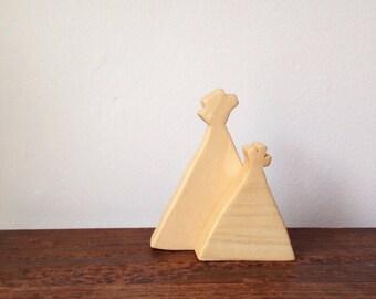 Tepee Wood Block Set, Playset, Nursery Decor, Southwestern Baby Shower Gift, Nomad, Imagination, Educational, Early Learning Toys