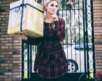 Checkered Red And Black Boxy Chiffon Long Sleeve Dress